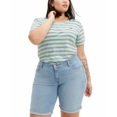 リーバイス レディース ハーフパンツ・ショーツ ボトムス Trendy Plus Size Shaping Denim Bermuda Shorts Oahu Morning