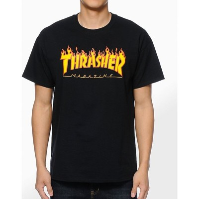 スラッシャー THRASHER メンズ Tシャツ トップス Thrasher Flame Logo Black T-Shirt Black