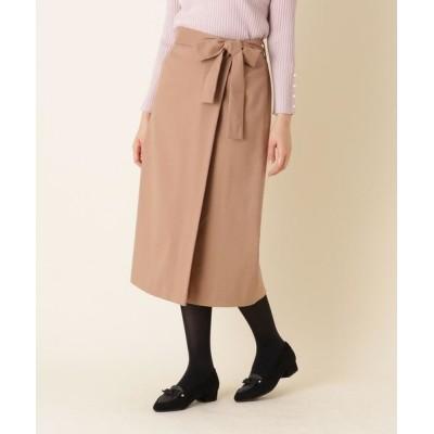 Couture Brooch/クチュールブローチ 【手洗い可】ラップ風リボンベルトスカート キャメル(041) 38(M)