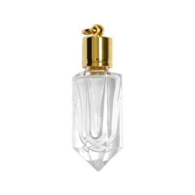ミニ香水瓶 アロマペンダントトップ  八角 (透明 容量1.3〜2mL)×穴あきキャップ(ライン)【メモリーオイル入れにオススメ】