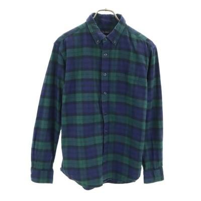 レイジブルー チェック柄 長袖 シャツ L ネイビー×グリーン RAGEBLUE ボタンダウン メンズ 古着 200413