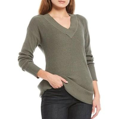 ウエストバウンド レディース パーカー・スウェット アウター Petite Size Solid V-Neck Long Sleeve Waffle Stitch Sweater