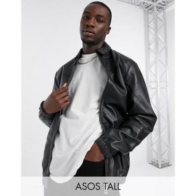 エイソス メンズ ジャケット・ブルゾン アウター ASOS DESIGN Tall leather harrington jacket in black