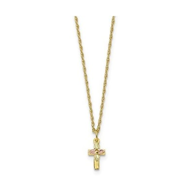 10k Tri Color Black Hills Gold Cross Religious Chain Necklace Pendant