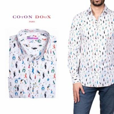柄シャツ カジュアルシャツ  メンズ 長袖 柄シャツ きれいめ 総柄シャツ 派手 オシャレ かわいい アート プリント フランス イタリア レ