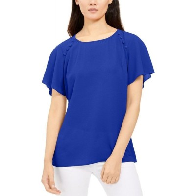 NY コレクション NY Collection レディース トップス Petite Button-Detail Top Blue