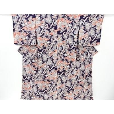 宗sou 未使用品 縮緬地 流水に家屋橋模様小紋着物【リサイクル】【着】