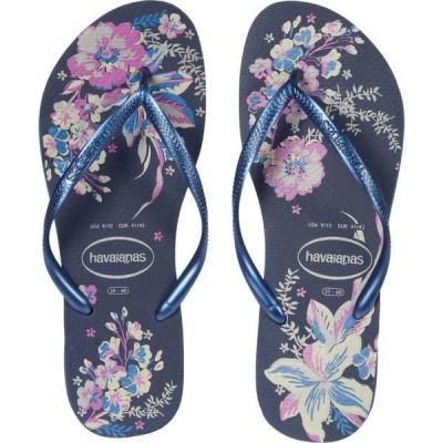 ハワイアナス Havaianas レディース ビーチサンダル シューズ・靴 Slim Organic Flip Flops Navy/Blue/Navy/Blue Metallic