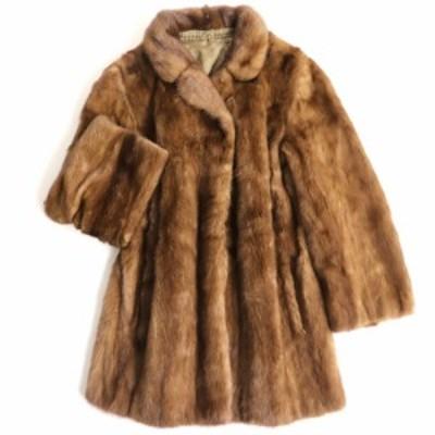 毛並み極美品▼MINK ミンク 裏地花柄刺繍入り 本毛皮コート ライトブラウン 毛質艶やか・柔らか◎