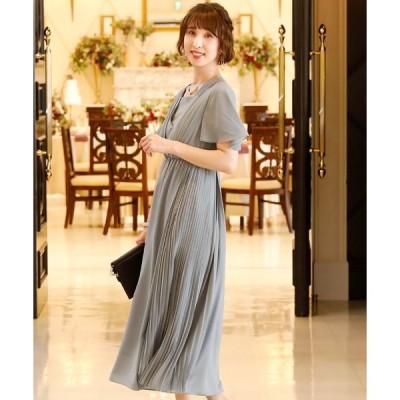 ドレス 袖あり&ミモレ丈ワンピースドレスアシンメトリー大きいサイズ結婚式フォーマル