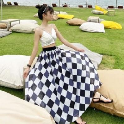 2020年新作 送料無料 マキシスカート チェック aラインスカート ロングフレアスカート 大きいサイズ マキシスカート かっこいいスカート