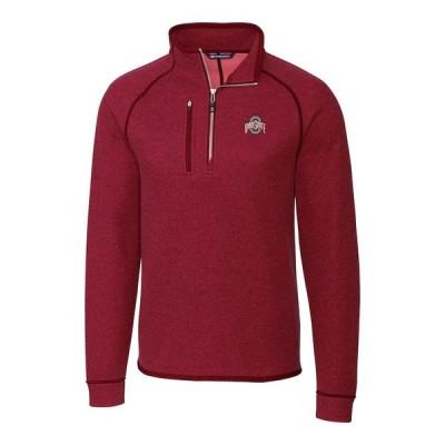 """メンズ ジャケット """"Ohio State Buckeyes"""" Cutter - Buck Mainsail Half-Zip Pullover Jacket - Scarlet"""