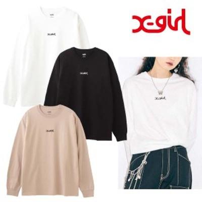 ネコポス対応 送料無料 エックスガール X-girl 長袖tシャツ レディース MILLS LOGO L/S TEE ホワイト ブラック ベージュ M L XL 10520501