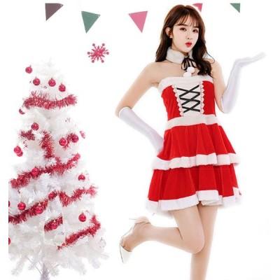 サンタ コスプレ 衣装 レディース クリスマス コスプレ コスチューム セクシー ワンピース サンタクロース 衣装 仮装 可愛い レースアップ パーティー イベント