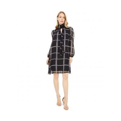 London Times ロンドンタイムズ レディース 女性用 ファッション ドレス Sheer Windowpane Chiffon Shift Dress - Black Multi
