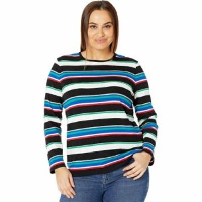 ラルフ ローレン LAUREN Ralph Lauren レディース Tシャツ 大きいサイズ トップス Plus Size Metallic Stripe Cotton Blend Top Black Mu