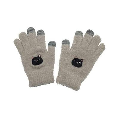 スマホ手袋 猫3兄弟 レディース 手袋 あったか 防寒 グローブ のびのび 猫 ki-106 (2 kuro Free Size)
