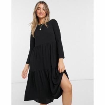 エイソス ASOS DESIGN レディース ワンピース ティアードドレス ワンピース・ドレス Long Sleeve Tiered Smock Midi Dress In Black ブラ