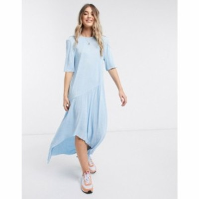 エイソス ASOS DESIGN レディース ワンピース マキシ丈 ワンピース・ドレス maxi plisse dress with dip hem in blue ブルー