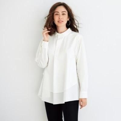 ファッション トップス シャツ ブラウス TEEE/ティー コットンタイプライター レイヤード風 バンドカラーシャツ A55002