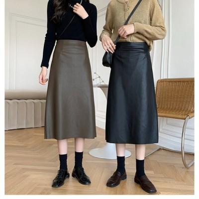 エコレザースカート スカート バックスリット レディース レザー フェイクレザー ミディアム丈5344