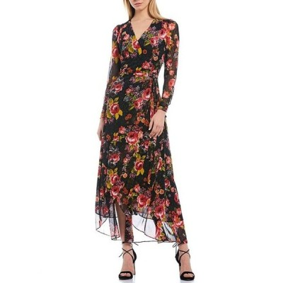 ベッツィジョンソン レディース ワンピース トップス Floral Print Mesh Wrap Tulip Hem Hi-Low Maxi Dress