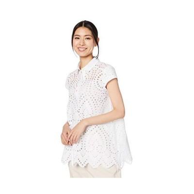 ナラ カミーチェ スカラップエンブロイダリーレース半袖シャツ 10-91-04-036 レディース ホワイト 日本 M (日本サイズ9 号相