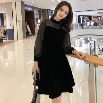 パーティドレス シースルー デート服 長袖 袖あり ハイネック 結婚式 お呼ばれドレス  20代 30代 40代 上品 黒ワンピースドレス