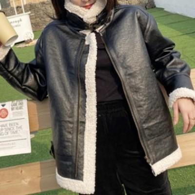 アウター ボア ライダース ジャケット ムスタン フェイクレザー アウター レディース 大きいサイズ ボンバージャケット 裏ボア 韓国  シ