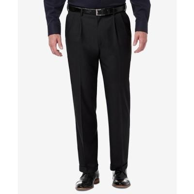 ハガール カジュアルパンツ ボトムス メンズ Men's Premium Comfort Stretch Classic-Fit Solid Pleated Dress Pants Black