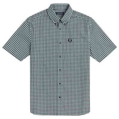 フレッドペリー Fred Perry メンズ 半袖シャツ トップス Short Sleeve Gingham Shirt Br Blue