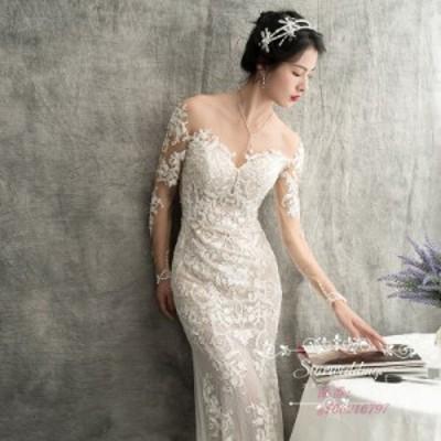 ウェディグドレス パーティードレス 花嫁 挙式 ロングドレス マーメイドラインドレス 結婚式 白 大きいサイズ 二次会 トレーン