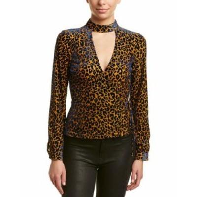 ファッション トップス Honey Punch Velvet Leopard Top Xs Yellow