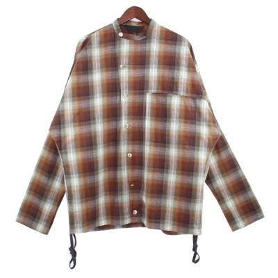 【2月1日値下】ESSAY SHADOW CHECK DOLMAN SLANT SHIRT ブラウン サイズ:S (吉祥寺店)