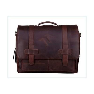 Ladderback Leather Messenger Bag for Men, Logan, Leather Briefcase, Chestnut並行輸入品