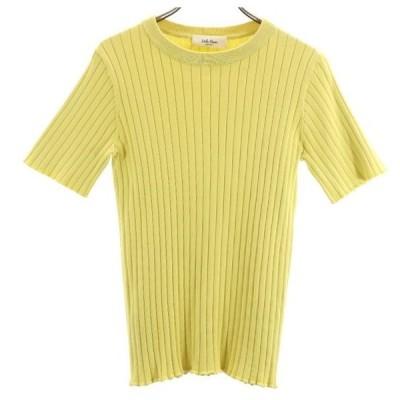 ミラオーウェン リブ ニット 0 黄色系 Mila Owen 半袖セーター レディース 古着 210404