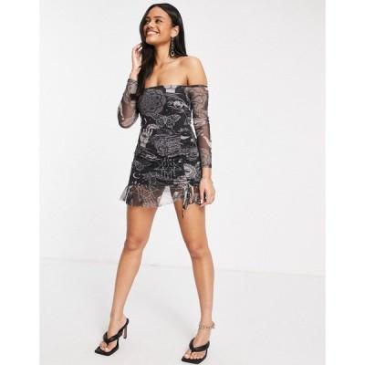 フェム リュクス Femme Luxe レディース ワンピース ミニ丈 ワンピース・ドレス Off Shoulder Long Sleeve Mini Dress In Multi Star Print マルチカラー