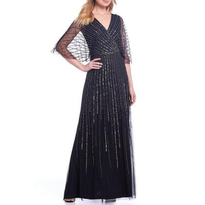 アドリアナ パペル レディース ワンピース トップス V-Neck Beaded Blouson Illusion 3/4 Sleeve Gown Black Mercury