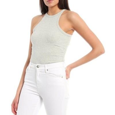 ジアーニビニ レディース カットソー トップス Rib Knit Vanessa Sleeveless Bodysuit Grey
