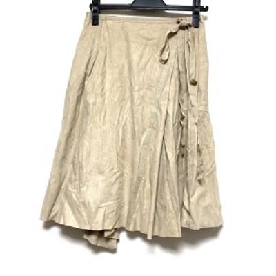 フォクシー FOXEY スカート サイズ40 M レディース 美品 - ベージュ ひざ丈【中古】20210701