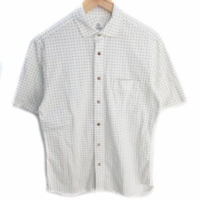 【中古】B&Y ユナイテッドアローズ ビューティー&ユース シャツ カジュアル 半袖 透け感 総柄 L 白 青 /FF28 メンズ