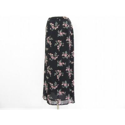 #anc ローラアシュレイ LAURAASHLEY スカート 34 黒 ピンク ロング バラ柄 レディース [599892]