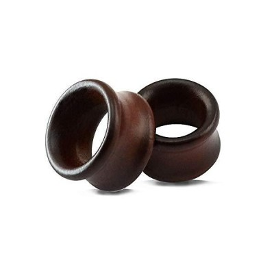 ZS Vintage Natural Brown Wood Organic Ear Tunnel Plugs Stretcher Gauges for