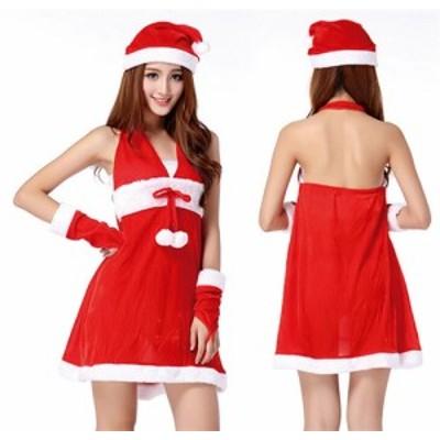 送料無料 サンタ コスプレ クリスマス衣装 レディース コスチューム ワンピ 赤 サンタコス サンタクロース  サンタコスチューム セクシー