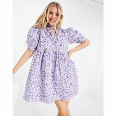 インフルエンス Influence レディース ワンピース ワンピース・ドレス high neck printed cotton mini smock dress in floral print ブル