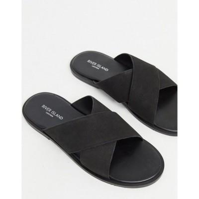 リバーアイランド メンズ サンダル シューズ River Island cross strap leather sandal in black Black