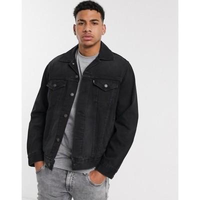 リーバイス メンズ ジャケット・ブルゾン アウター Levi's vintage fit denim trucker jacket in very black