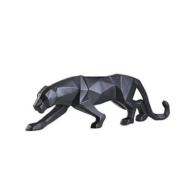 Gongguan 抽象的な動物の像 手彫り 動物 樹脂彫刻 モダン ホームデコレーション S ブラック