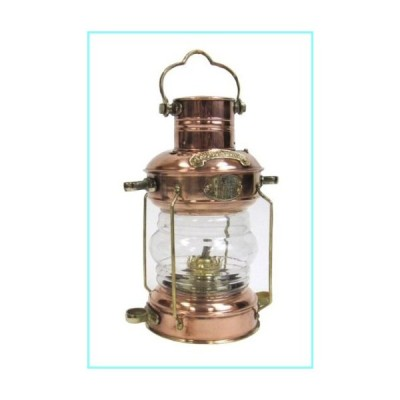 "Reproduction Ship's Anchor Oil Lamp in Copper Brass Details - 13"" Tall"