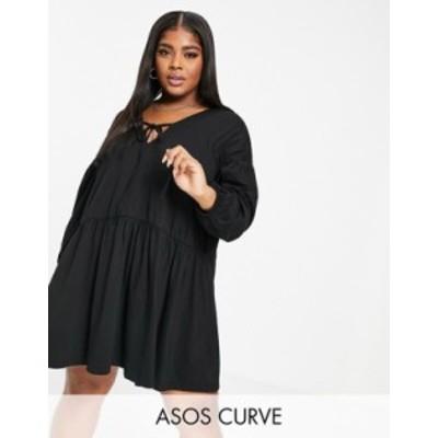 エイソス レディース ワンピース トップス ASOS DESIGN Curve tiered smock dress in black Black